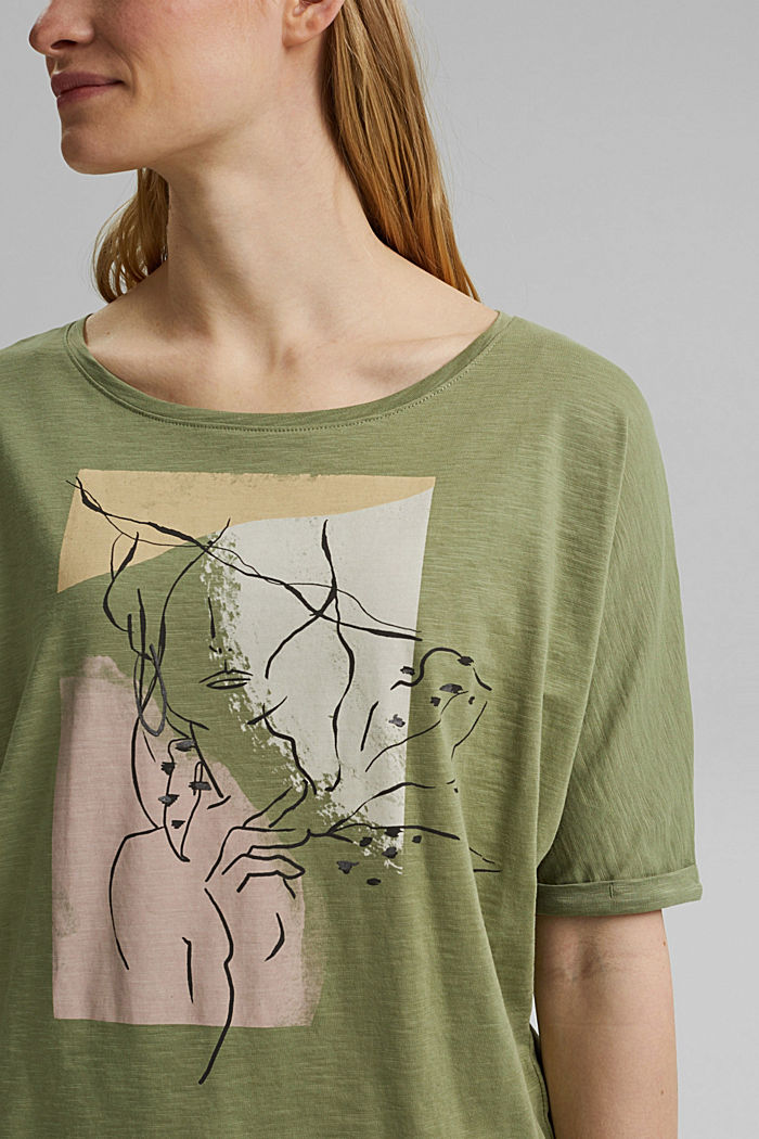 T-Shirt mit Line-Art, Organic Cotton, LIGHT KHAKI, detail image number 2