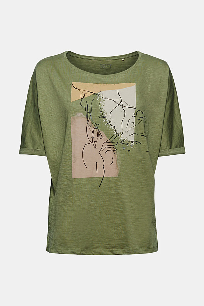 T-Shirt mit Line-Art, Organic Cotton, LIGHT KHAKI, detail image number 6