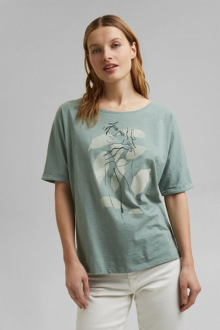 Line-art T-shirt, organic cotton, TURQUOISE, detail image number 0