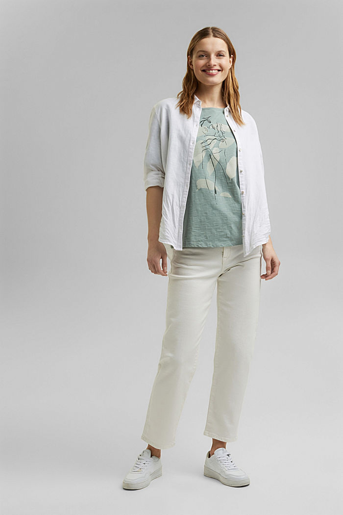 Line-art T-shirt, organic cotton, TURQUOISE, detail image number 1