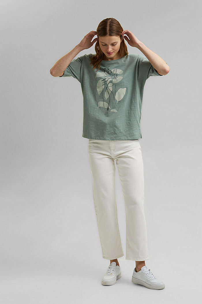 Line-art T-shirt, organic cotton, TURQUOISE, detail image number 7