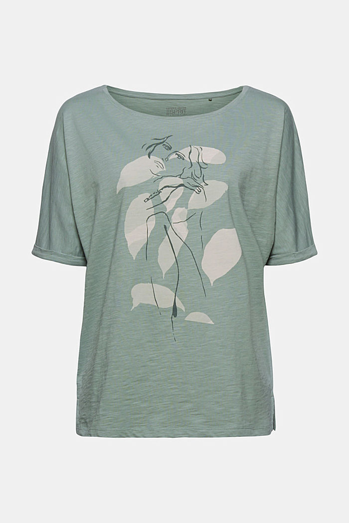 T-Shirt mit Line-Art, Organic Cotton, TURQUOISE, overview