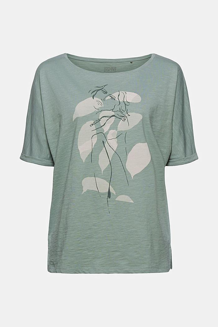 Line-art T-shirt, organic cotton, TURQUOISE, detail image number 8