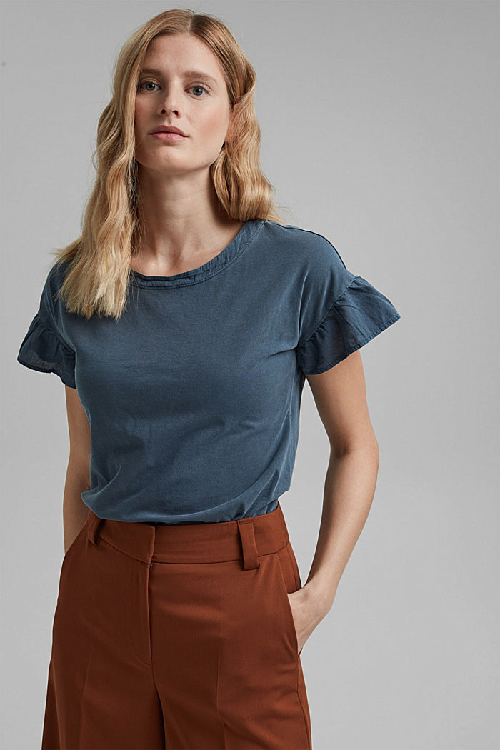 T-shirt with flounce sleeves, organic cotton