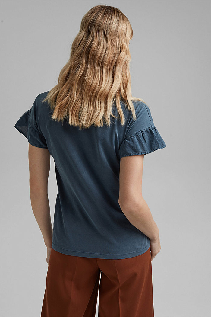 T-shirt with flounce sleeves, organic cotton, NAVY, detail image number 3