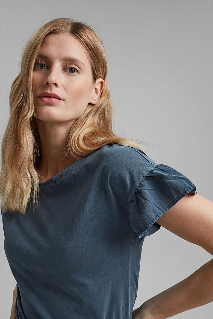 T-Shirt mit Volant-Ärmeln, Organic Cotton, NAVY, detail image number 5