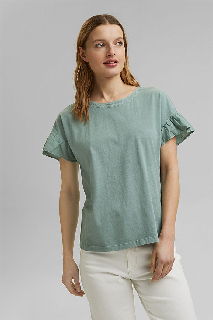 T-shirt med volant-ærmer, økologisk bomuld, TURQUOISE, detail image number 0