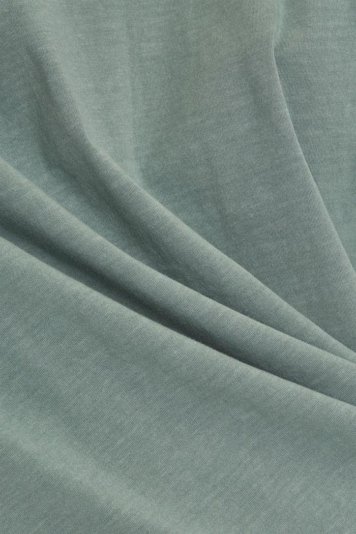 T-shirt med volant-ærmer, økologisk bomuld, TURQUOISE, detail image number 4