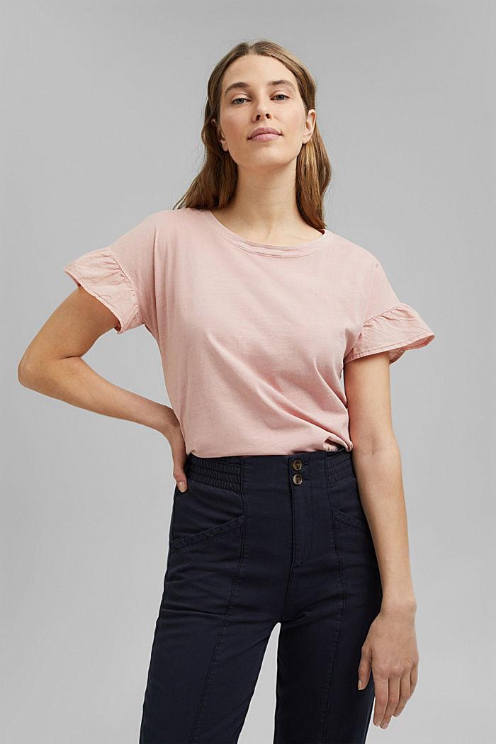 T-Shirt mit Volant-Ärmeln, Organic Cotton, NUDE, detail image number 0