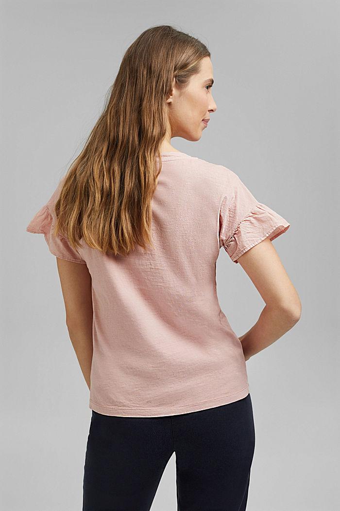 T-Shirt mit Volant-Ärmeln, Organic Cotton, NUDE, detail image number 3