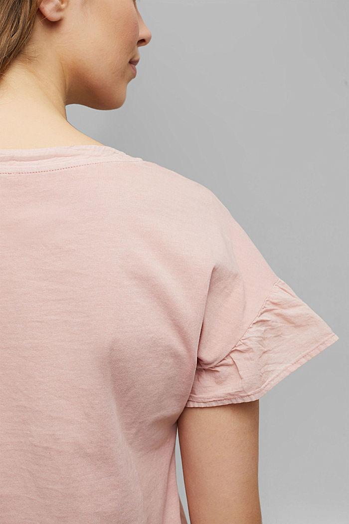 T-Shirt mit Volant-Ärmeln, Organic Cotton, NUDE, detail image number 2