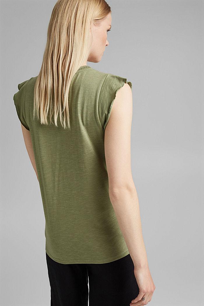 T-Shirt mit Klöppelspitze und Volants, LIGHT KHAKI, detail image number 3