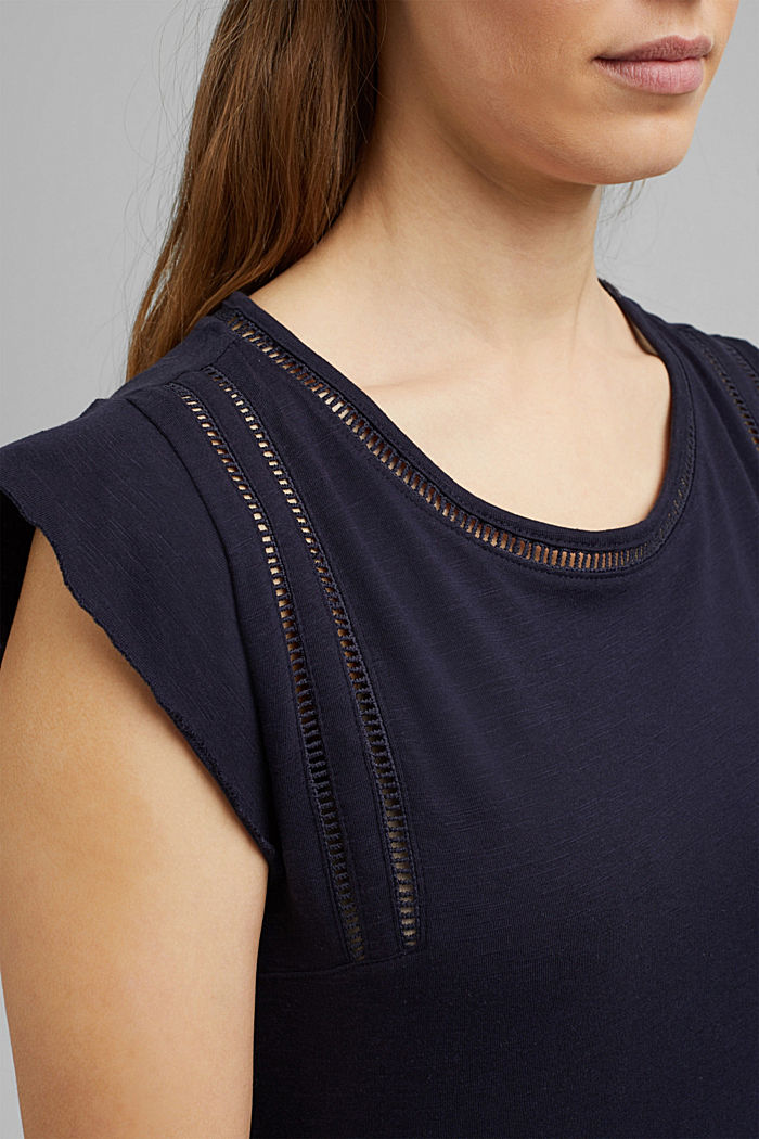 T-shirt with bobbin lace and flounces, NAVY, detail image number 2