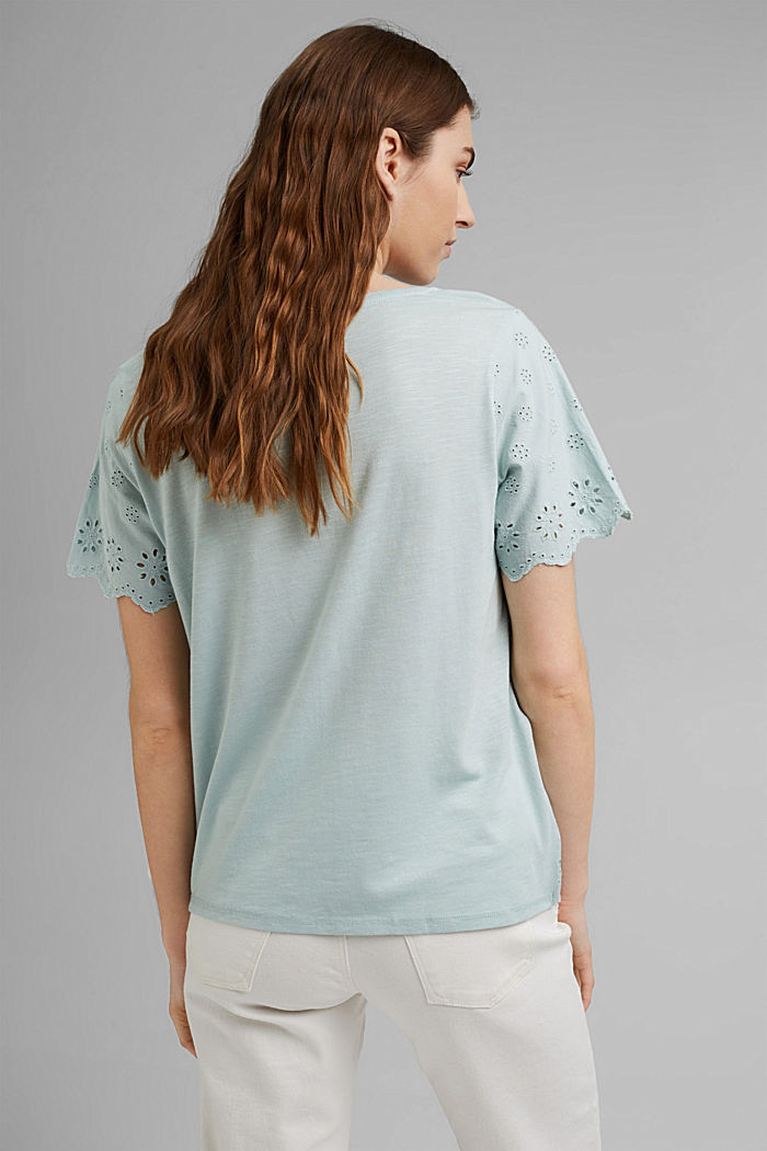 Mit TENCEL™: T-Shirt mit Lochstickerei, LIGHT AQUA GREEN, detail image number 3