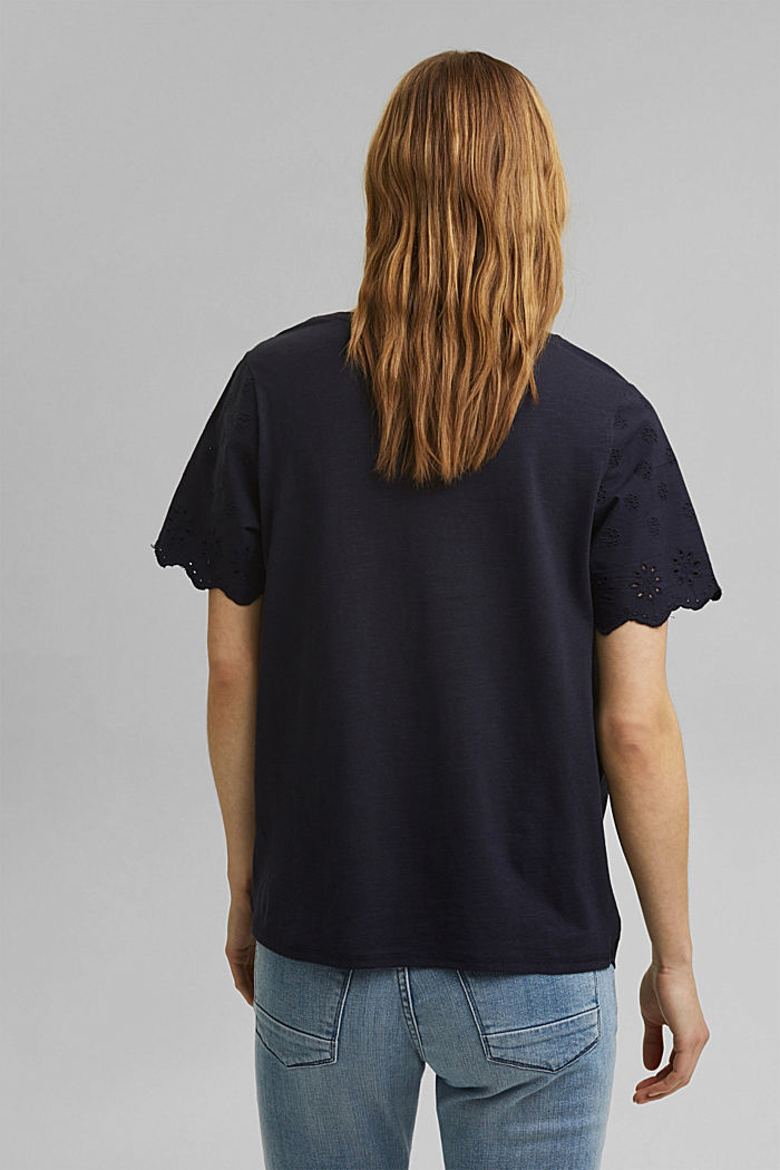Containing TENCEL™: broderie anglaise detail T-shirt, NAVY, detail image number 3