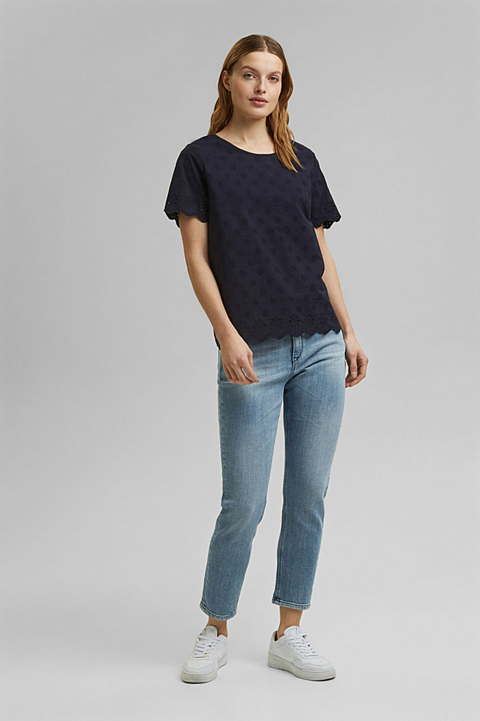 Containing TENCEL™: broderie anglaise detail T-shirt, NAVY, detail image number 1