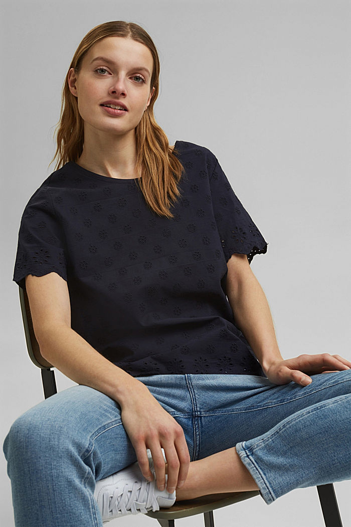 Containing TENCEL™: broderie anglaise detail T-shirt, NAVY, detail image number 6