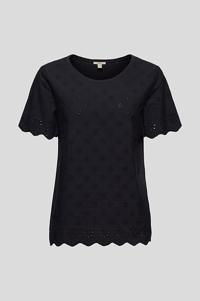 Containing TENCEL™: broderie anglaise detail T-shirt, NAVY, detail image number 7