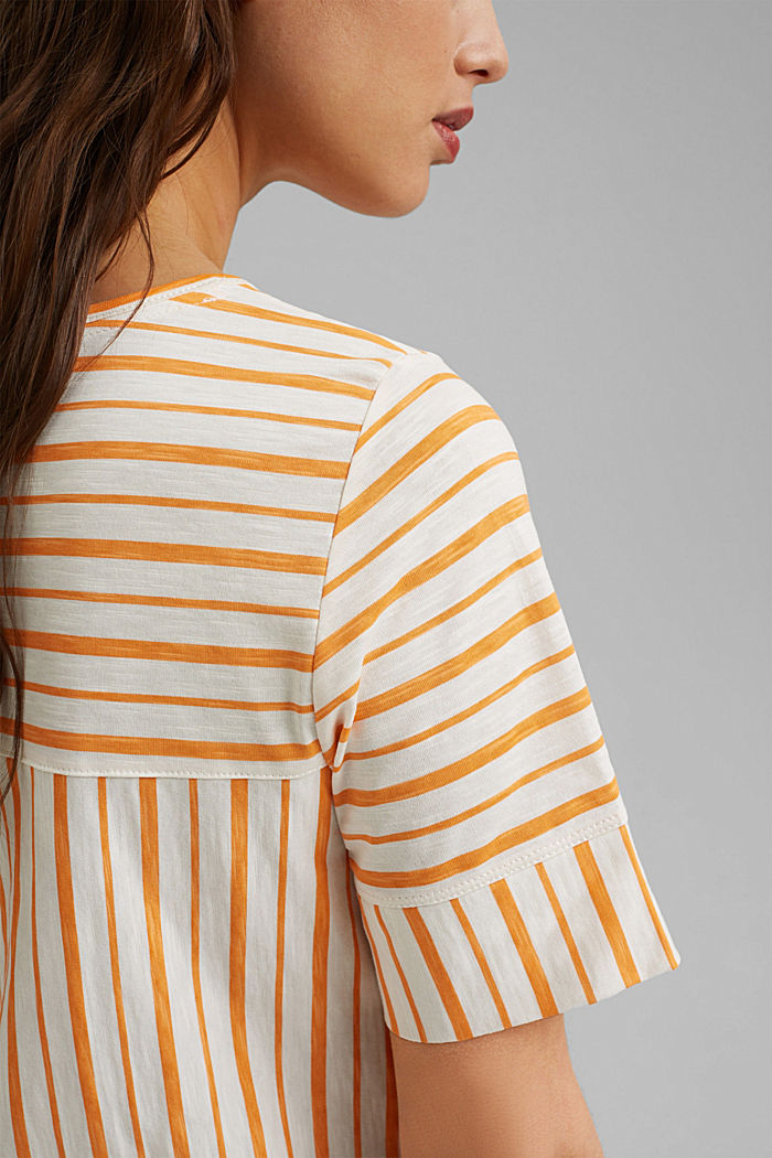 T-Shirt mit Streifen, Organic Cotton, ORANGE, detail image number 2