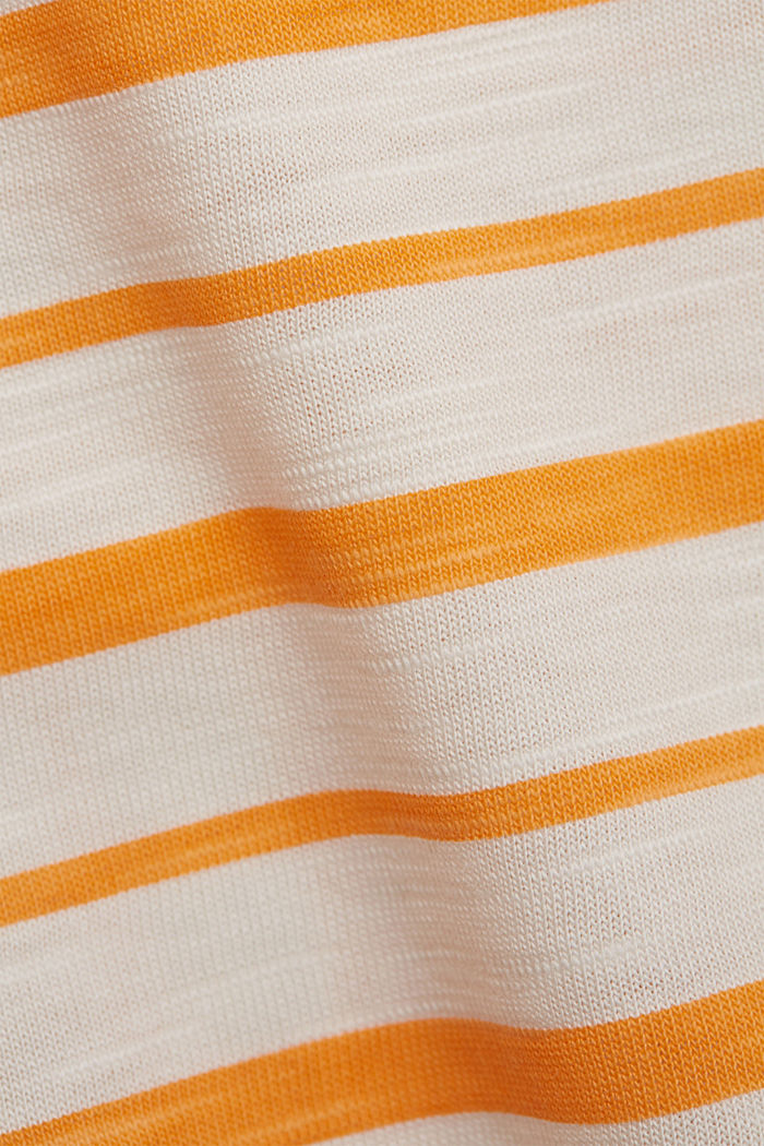 T-Shirt mit Streifen, Organic Cotton, ORANGE, detail image number 4