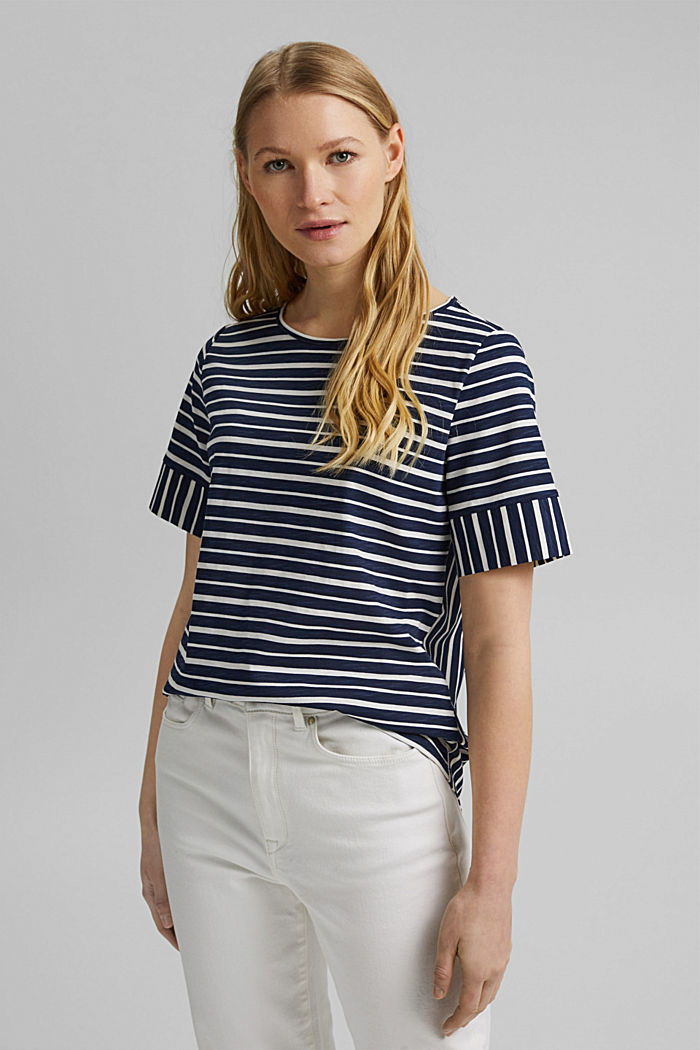 Striped T-shirt, organic cotton, NAVY, overview