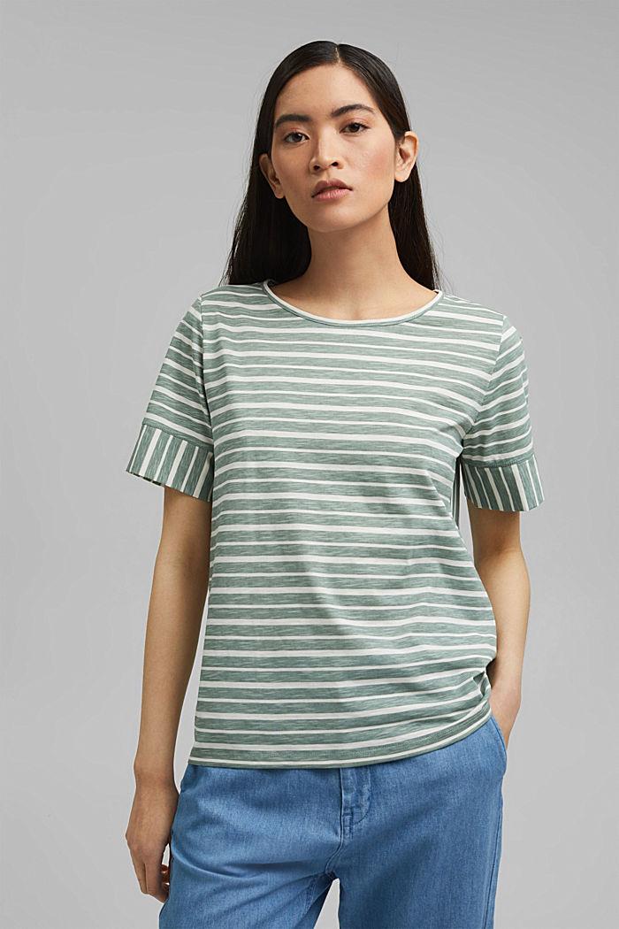 T-Shirt mit Streifen, Organic Cotton, TURQUOISE, detail image number 0