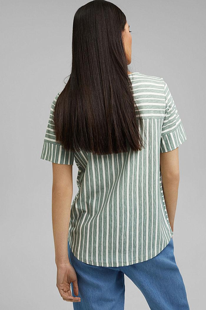 T-Shirt mit Streifen, Organic Cotton, TURQUOISE, detail image number 3