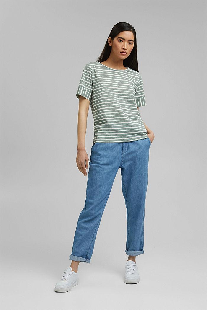 T-Shirt mit Streifen, Organic Cotton, TURQUOISE, detail image number 1