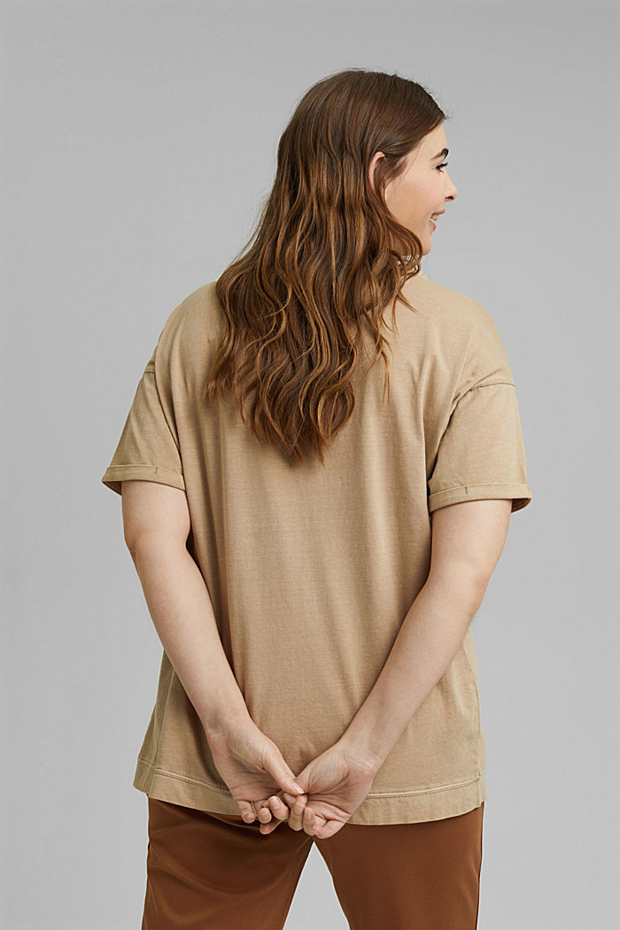 Washed-effect CURVY T-shirt, organic cotton, SAND, detail image number 3