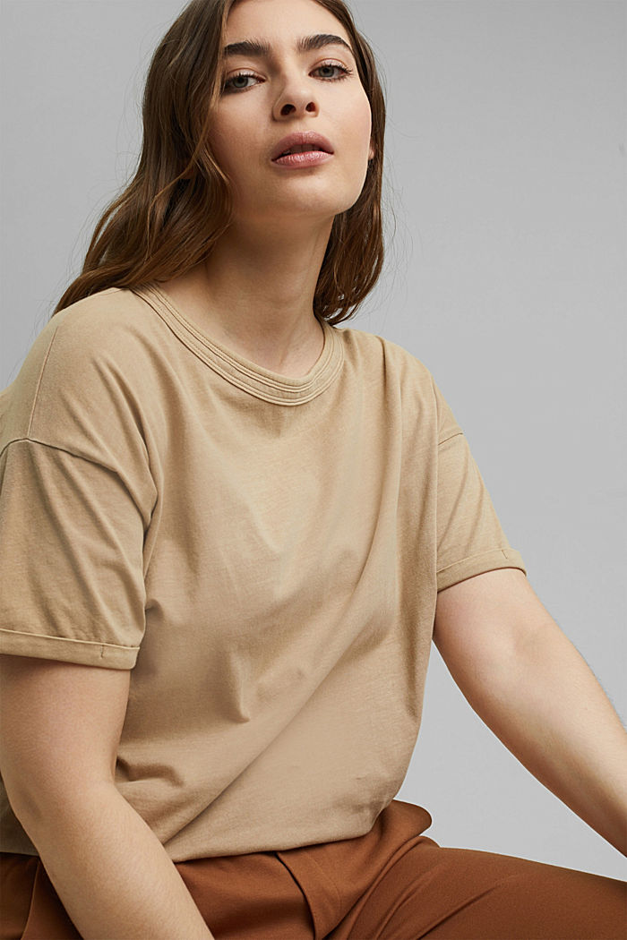 Washed-effect CURVY T-shirt, organic cotton, SAND, detail image number 5