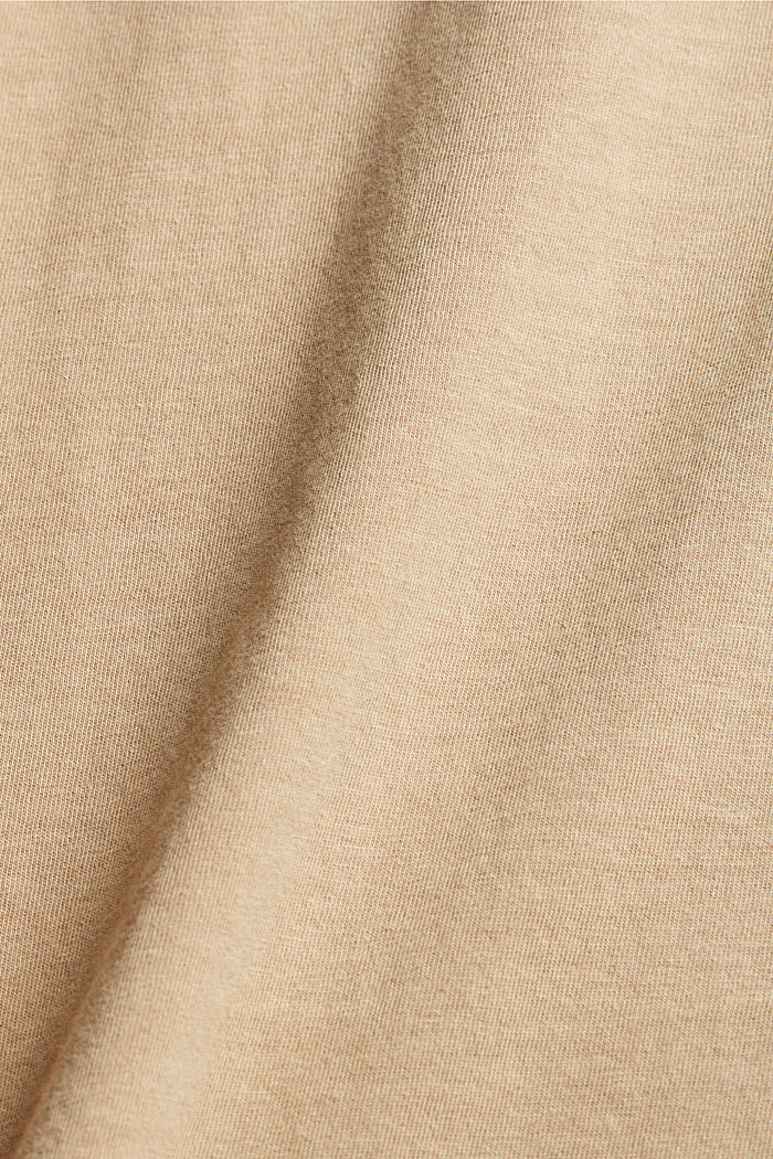Washed-effect CURVY T-shirt, organic cotton, SAND, detail image number 4