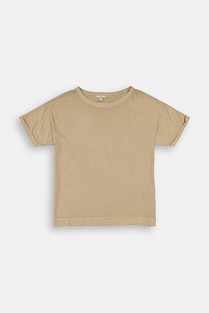 Washed-effect CURVY T-shirt, organic cotton, SAND, detail image number 7