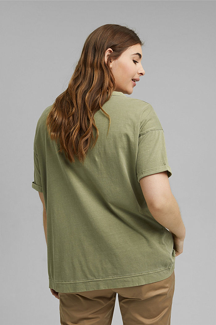 Washed-effect CURVY T-shirt, organic cotton, LIGHT KHAKI, detail image number 3