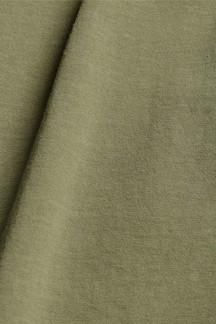 Washed-effect CURVY T-shirt, organic cotton, LIGHT KHAKI, detail image number 4
