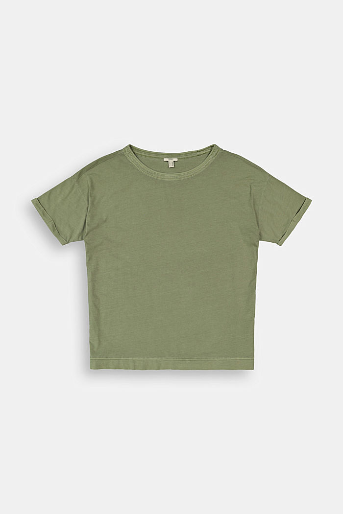 Washed-effect CURVY T-shirt, organic cotton, LIGHT KHAKI, detail image number 5