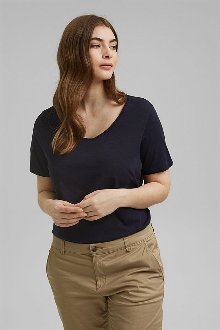 CURVY V-neck T-Shirt, organic cotton, NAVY, detail image number 0