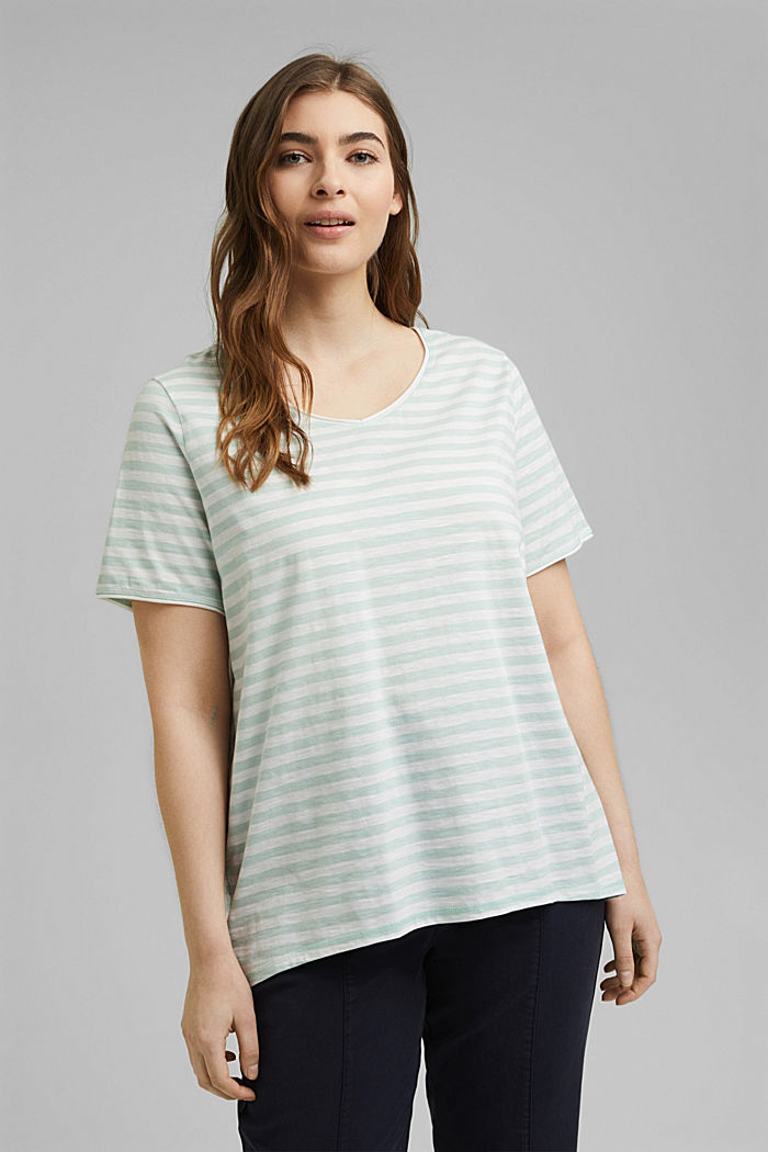 CURVY striped T-shirt, organic cotton, LIGHT AQUA GREEN, detail image number 0