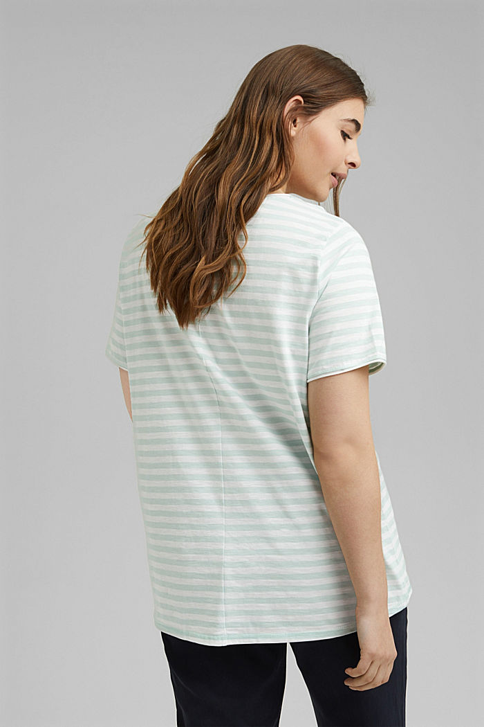 CURVY striped T-shirt, organic cotton, LIGHT AQUA GREEN, detail image number 3