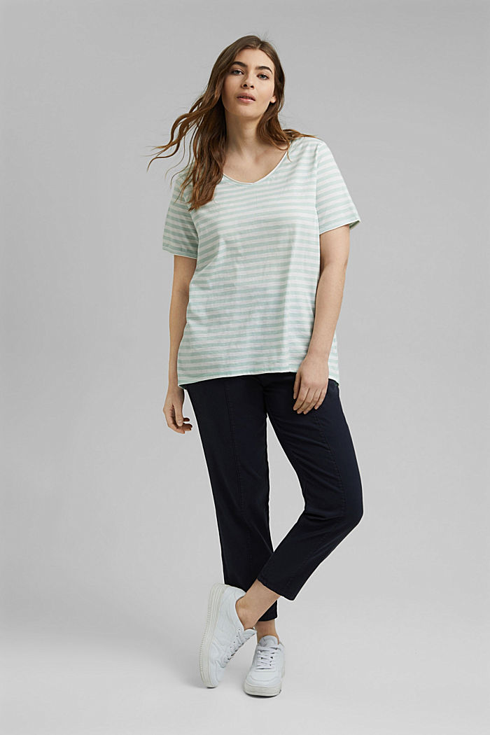 CURVY striped T-shirt, organic cotton, LIGHT AQUA GREEN, detail image number 1