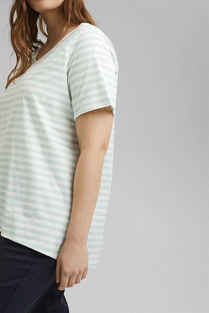 CURVY striped T-shirt, organic cotton, LIGHT AQUA GREEN, detail image number 2