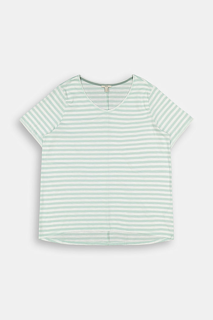 CURVY striped T-shirt, organic cotton, LIGHT AQUA GREEN, detail image number 5