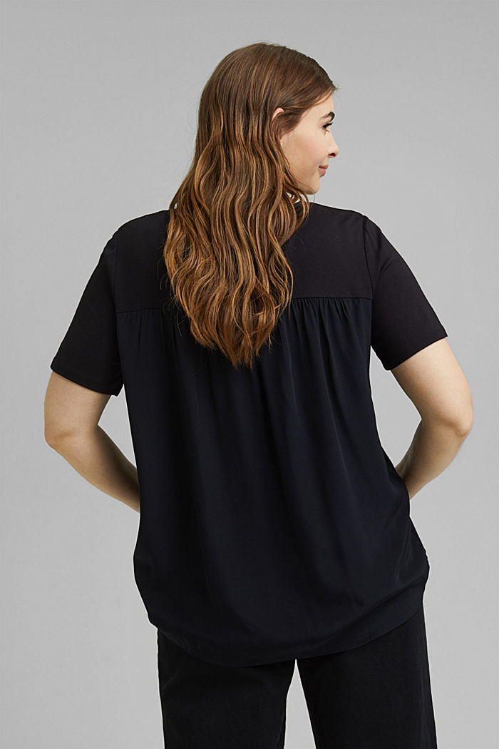 CURVY mixed material T-shirt, BLACK, detail image number 3