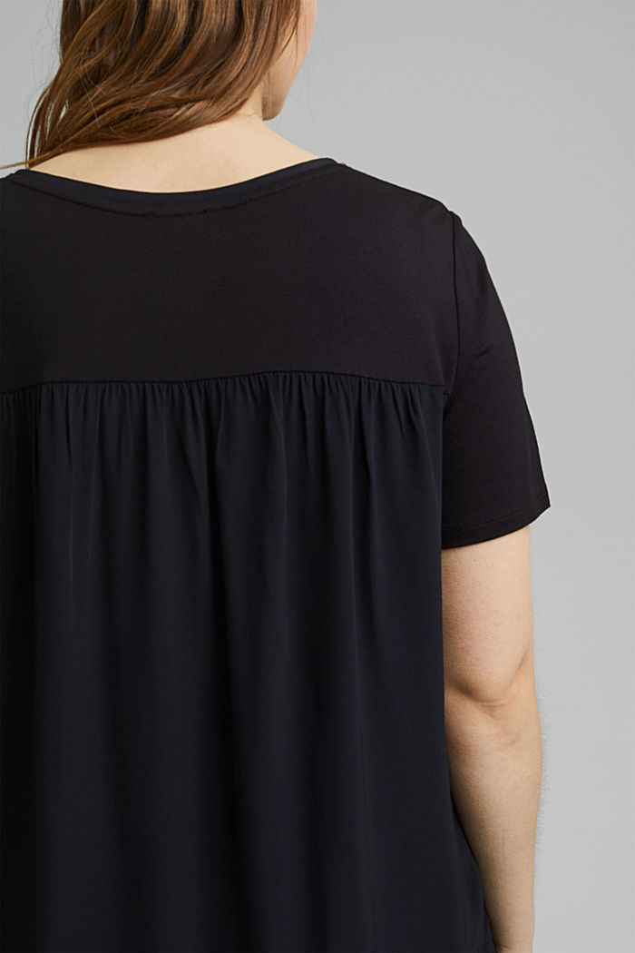 CURVY mixed material T-shirt, BLACK, detail image number 2