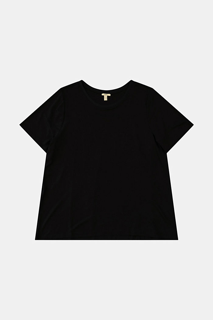 CURVY mixed material T-shirt, BLACK, detail image number 5