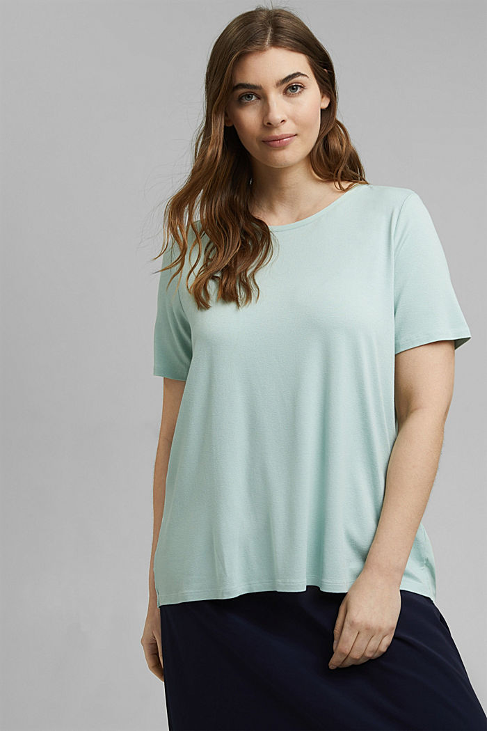 CURVY T-Shirt aus Materialmix, LIGHT AQUA GREEN, detail image number 0