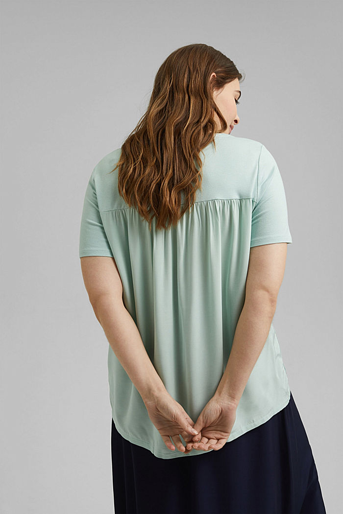 CURVY T-Shirt aus Materialmix, LIGHT AQUA GREEN, detail image number 3