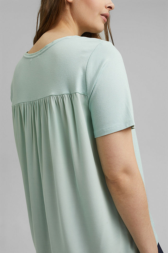 CURVY T-Shirt aus Materialmix, LIGHT AQUA GREEN, detail image number 2