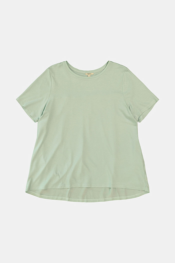 CURVY T-Shirt aus Materialmix, LIGHT AQUA GREEN, detail image number 6