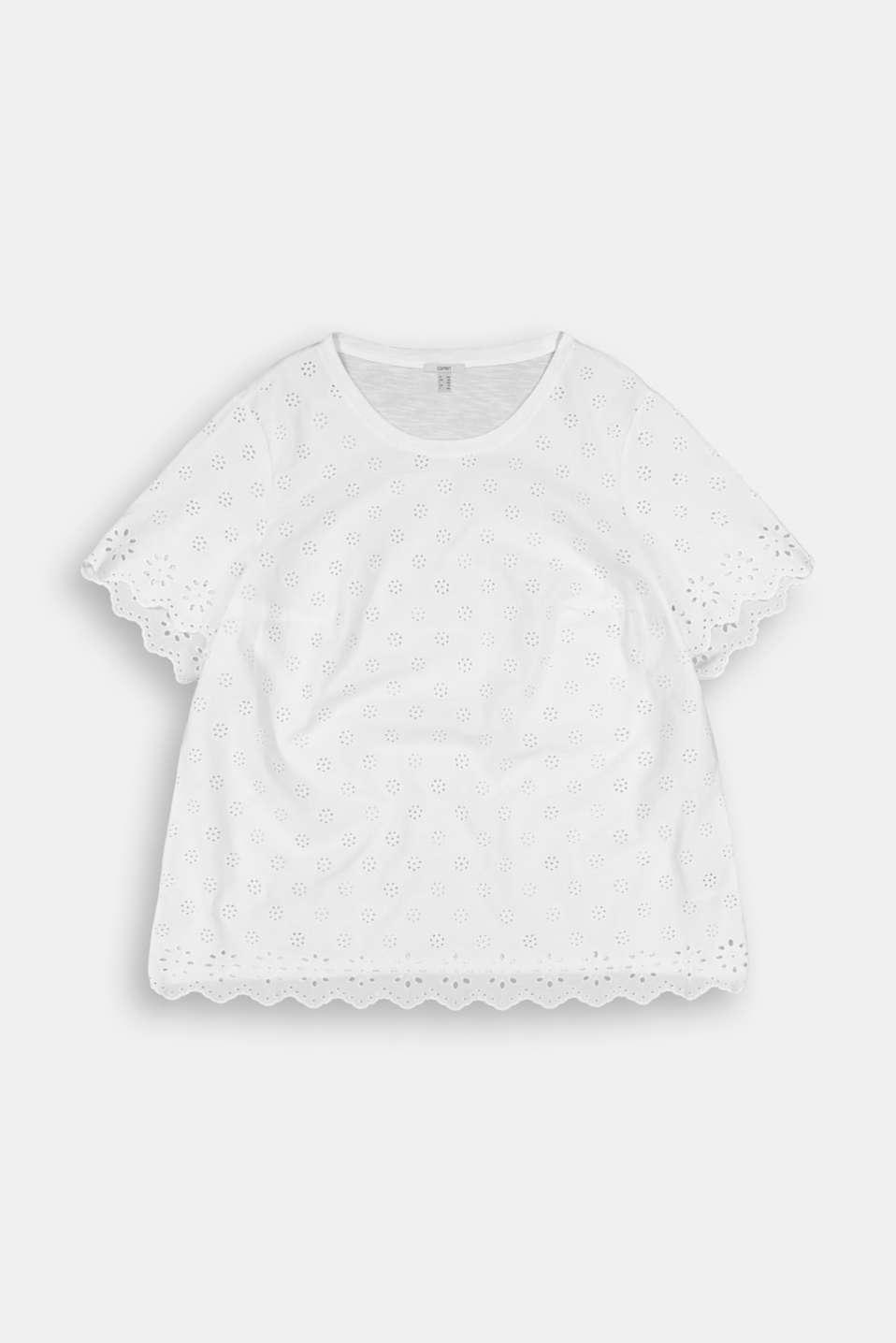 Esprit - CURVY T-shirt with broderie anglaise