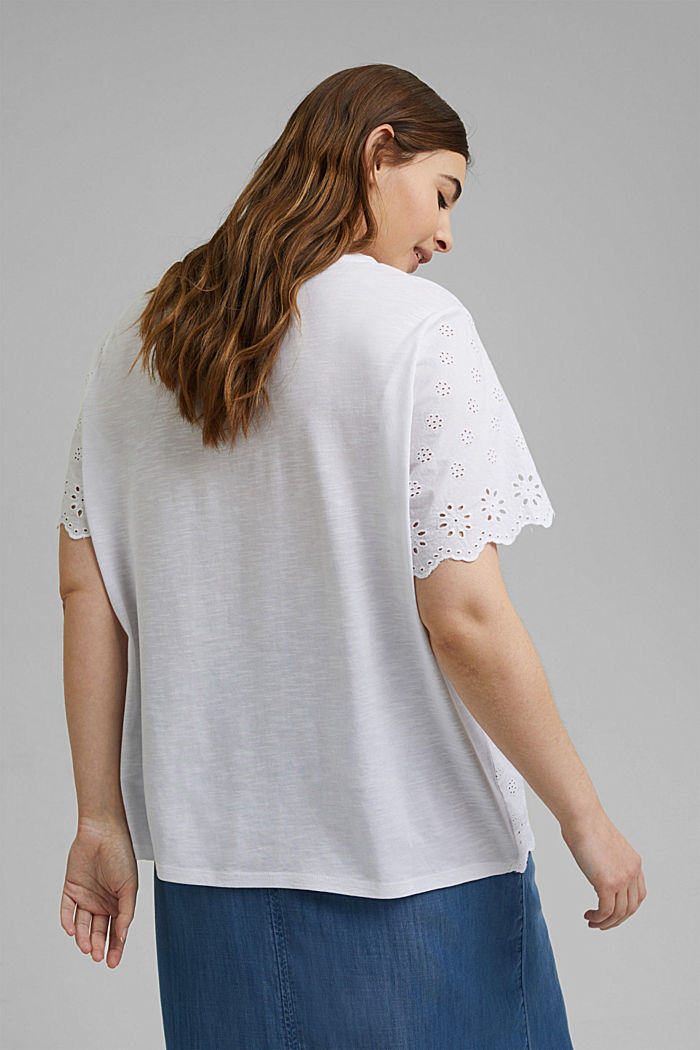 CURVY T-shirt met broderie, WHITE, detail image number 3
